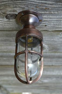 Small polished bronze boat ceiling bulkhead flush mount light wall lamp SFMBZ1 B