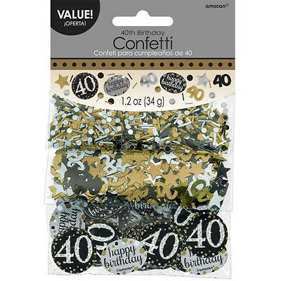 40th Birthday Confetti Table Decoration Sprinkle Black Silver Gold Age 40 Party