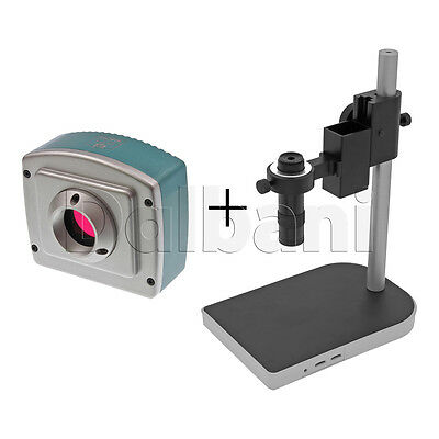 New Digital Microscope Camera Body with Stand & Lens Blue C-Mount 1080P HDMI USB