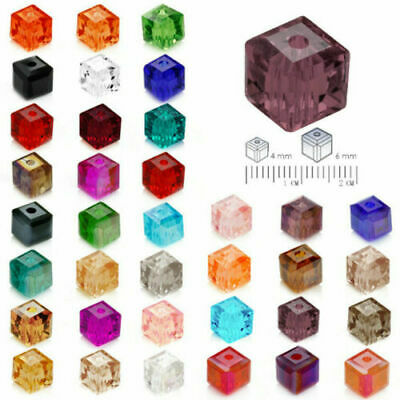 20pcs 6mm Faceted Square Cube Glass Crystal Loose Spacer Beads Charm Finding