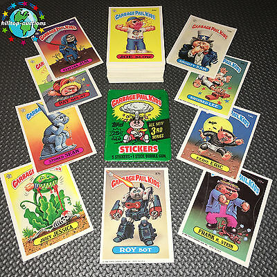 GARBAGE PAIL KIDS 3rd SERIES 3 COMPLETE 88-CARD SET 1986 +FREE WAX WRAPPER