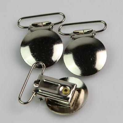 HOT 20Pcs Metal Round Suspender Clips Pacifier Clips Plastic Insert Ribbon Craft
