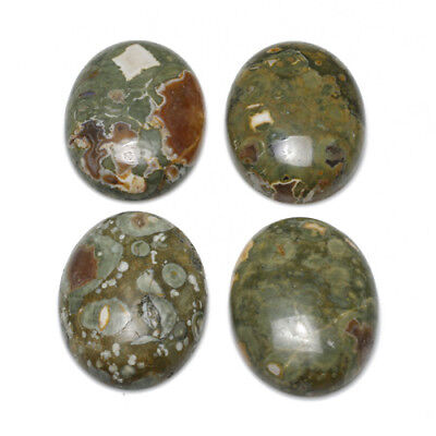1 x Green Rhyolite 18 x 25mm Oval-Shaped Flat-Backed Cabochon CA16640-6