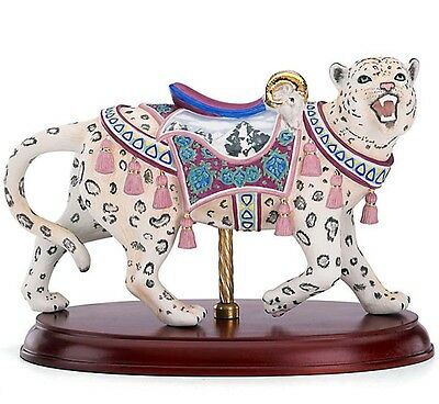 Lenox Carousel Snow Leopard Figurine on Wood Base Limited Edition New