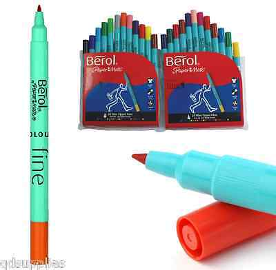 Pack 24 Berol Papermate Colourfine Washable Fine Felt Tip Pens School Colouring