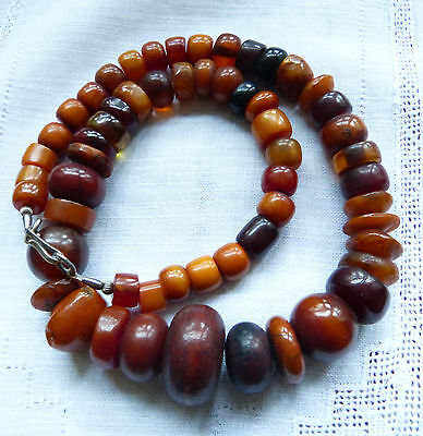 Exquisite antique African amber necklace from Morocco, 1930s phenolic resin,191g