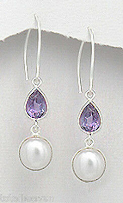 """1.97"""" Solid Sterling Silver Amethyst and Pearl Dangle Earrings 4.49g Dainty"""
