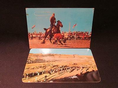 Calgary Stampede Chuck Wagon Race & Calf Roping 1960 Two Color Photo Postcards