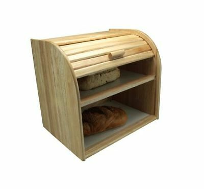 Apollo Rubberwood Double Decker Roll Top Bread Bin Kitchen Food Storage NEW