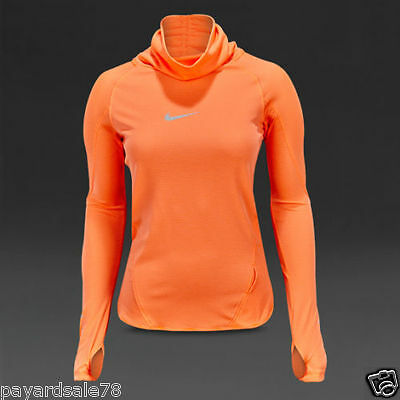 Nike Women's Running Long Sleeve Shirt Aeroreact Hyper Orange $110 686955 877