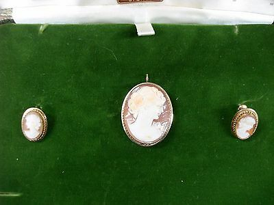 Vintage 1950-60's Van Dell G.f. Carved Cameo Pin/pendant & Earrings! Orig. Box!