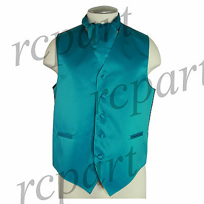 New Men's Formal Tuxedo Vest Waistcoat solid & Ascot cravat teal Prom