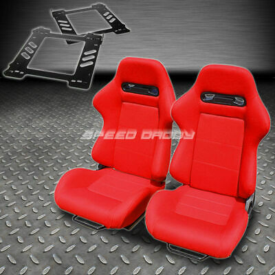 Pair Type-R Red Cloth Reclining Racing Seat+Bracket For 92-99 Bmw E36 2-Dr