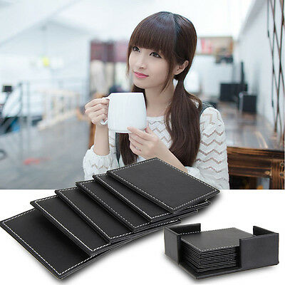 6Pcs Double-deck Leather Drink Coaster Tea Coffee Cup Mat Pads Table Tableware
