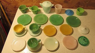 Old Akro Agate Children's Dishes - 24 pcs