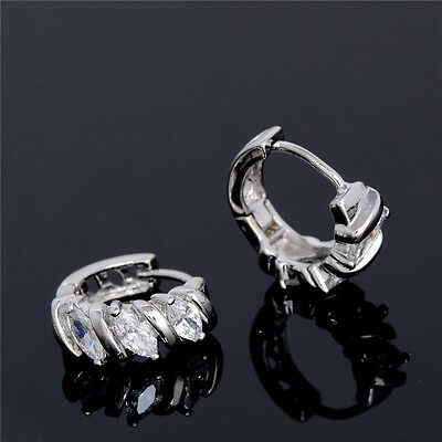 18K White Gold Plated Fashion Earrings Clear Cubic Zirconia Crystal Hoop Earring
