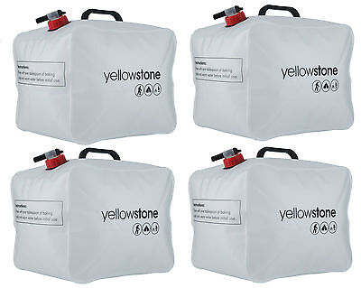 4X Yellowstone 15L Pack Away Water Carrier Flat 15 Litre Leak Proof Bottle Pouch
