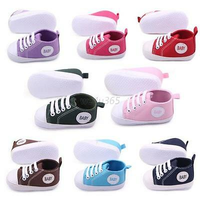 Toddler Baby Boy Girl Lace Up Sneakers Soft Sole Crib Shoes Newborn  to 12Months