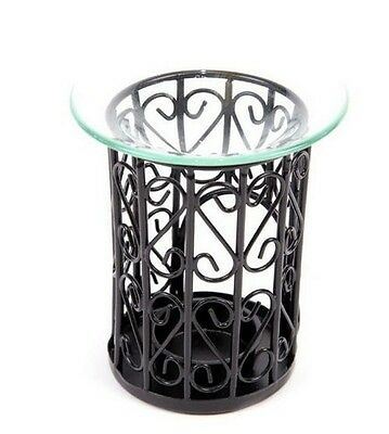 Black Metal Mesh And Glass Oil Burner