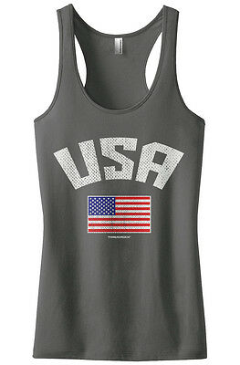 7a47495000393 Threadrock Women s USA American Flag Racerback Tank Top Pride United States