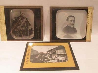 Sagusta, Montoya & Main St in Manila Spanish American War 3 Vintage Glass Slides