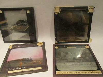 Railway including Isle of Wight, Snowdon Engine & others 4 Vintage Glass Slides