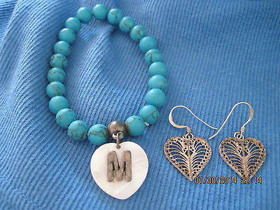 BEAUTIFUL Set of 2 Turquoise Bracelet & SS Silver Filigree Heart Ear...#6448