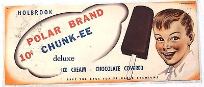 Vtg Holbrook Polar Chunk-ee Ice Cream Advertising Sign / Poster / Lithograph