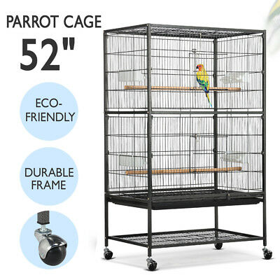 "52"" Large Bird Parrot Chinchilla Conure Cockatiel Cage w/ Wheel Gym Perch Stand"