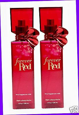 2 Bath & Body Works FOREVER RED Fine Fragrance Mist Body Spray Splash Bottle 8oz