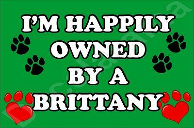 I'm Happily Owned By A Brittany Jumbo Fridge Magnet Gift/Present Dog