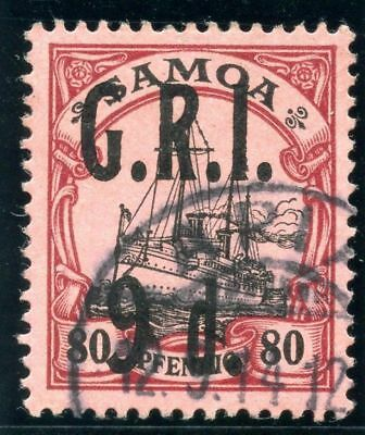 Samoa 1914 KGV G.R.I. 9d on 80pf black & carmine/rose VF used. SG 109. Sc 109.