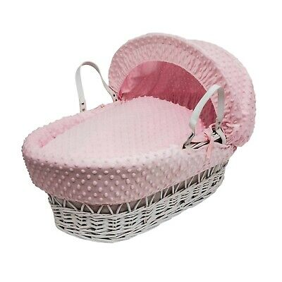 Pink Dimple  Moses  Basket  4 Piece Dressing (Basket Not Included)