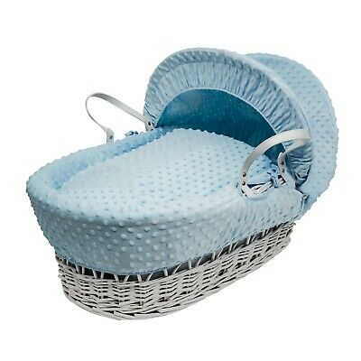 Blue Dimple  Moses  Basket  4 Piece Dressing (Basket Not Included)