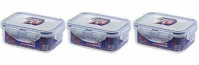 3 X Lock & Lock Plastic Food Storage Container 350Ml Hpl806