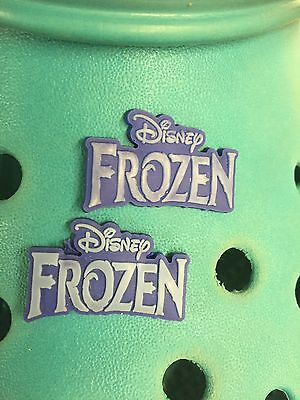 2 Frozen Logo Shoe Charms For Crocs and Jibbitz Wristbands. Free UK P&P.