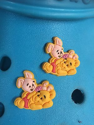 2 Cute Winnie The Pooh & Piglet Shoe Charms For Crocs and Jibbitz Wristbands.