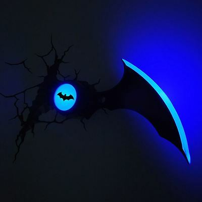Batman Batarang 3D Led Deco Wall Light With Crack Sticker New