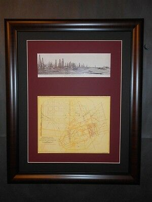 Spindletop 1902 Oil Field Beaumont Port Arthur Texas Map & Photo Framed