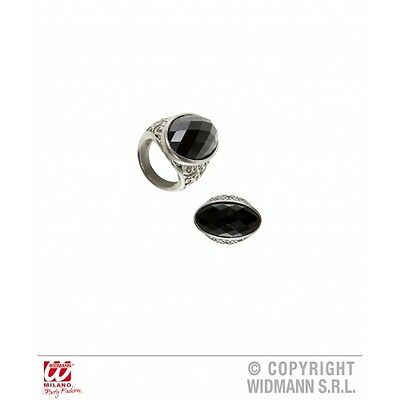 BLACK GEM GOTHIC RING for Emo Goth Vampire Halloween Accessory