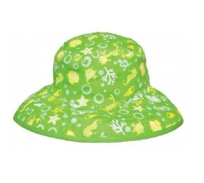 Baby Banz Reversible Sun Hat Lime Sea Adjustable Fit UVA UVB Protection 2 Sizes