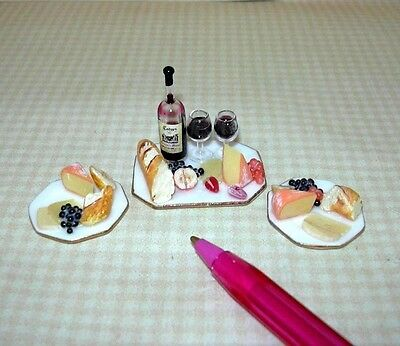 Miniature Bread, Wine and Cheese Set, Octagonal Porcelain Plates DOLLHOUSE 1/12