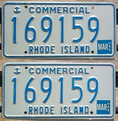 Rhode Island 1989 COMMERCIAL TRUCK license plate pair - natural sticker!
