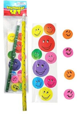 6 Smiley Face Stationery Sets Pencil Sticker Erasers Party Favor Novelty BNIP
