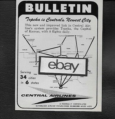 Central Airlines Bulletin New Service To Topeka,kansas Route Map 1958 Ad
