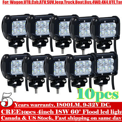 10x 4inch 18W Cree LED Work Light Bar Driving Fog Flood Truck Offroad JEEP SUV 5
