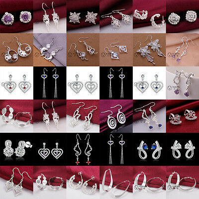 2016 Fashion Jewelry Solid Silver Womens 925sterling Silver Earring Xmas Gift