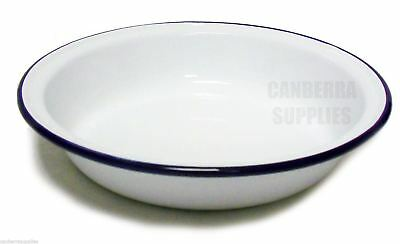 Falcon Enamel Round Camping Pie Dish 18Cm White With Blue Trim Free Shipping