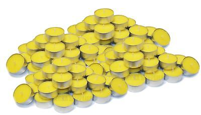 100 x CITRONELLA TEALIGHT TEA LIGHT FRAGRANCED GARDEN CANDLES - LEMON