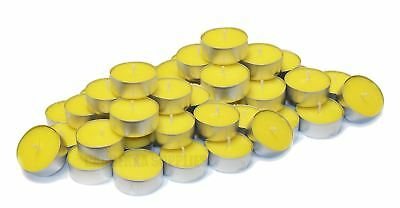 50 x CITRONELLA TEALIGHT TEA LIGHT FRAGRANCED GARDEN CANDLES - LEMON